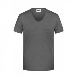 V-ringad T-shirt med ficka i bomull